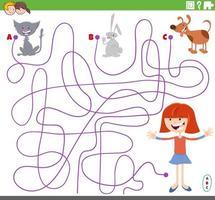 doolhofspel met meisjes- en huisdierenpersonages vector