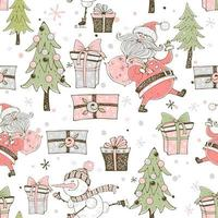 kerstman met geschenken en kerstbomen