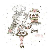 schattig meisje patissier een cake bakken vector
