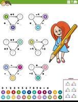 wiskunde berekening educatieve werkbladpagina vector