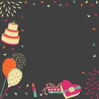 donkere achtergrond verjaardagsfeestje frame vector