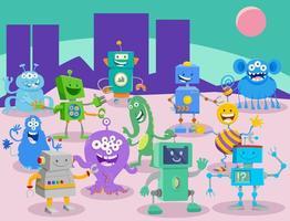 cartoon aliens en robots fantasie karakters groep vector