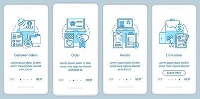 klantrelatie onboarding mobiele app-pagina vector