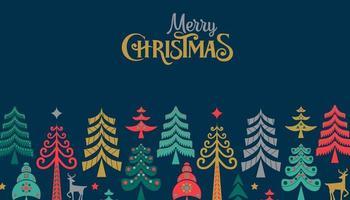 vrolijk kerstfeest retro folk dennenboom websjabloon vector