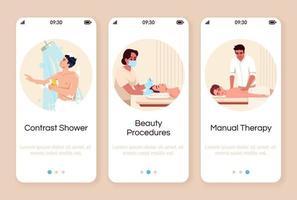 spa resort onboarding mobiele app-scherm vector