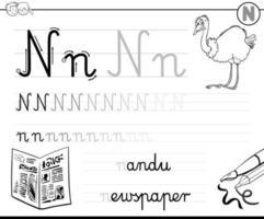 hoe je letter n werkboek schrijft vector