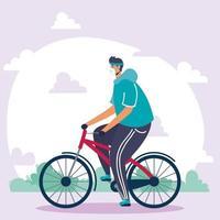 man met gezichtsmasker fietsen buitenshuis vector
