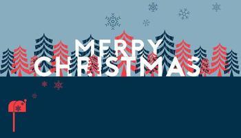 vrolijk kerstfeest en dennenboom websjabloon vector