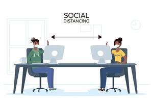 mensen met gezichtsmaskers sociaal afstand nemen op het werk vector