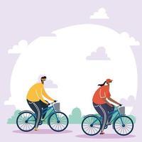 mensen met gezichtsmaskers buiten fietsen vector