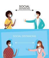 mensen sociaal afstand nemen met gezichtsmaskers vector