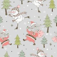 een vrolijke sneeuwman schaatsen. kerstkaart