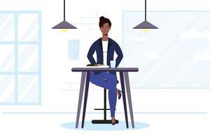 jonge vrouw zittend in een restaurant vector