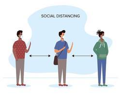 diverse mensen sociaal afstand nemen met gezichtsmaskers vector