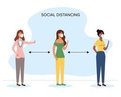 diverse vrouwen sociaal afstand nemen met gezichtsmaskers vector