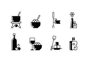 Fondue partij ingesteld pictogram vector