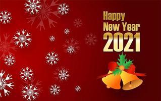 gelukkig nieuw jaar 2021 ontwerp met sneeuwvlokken vector
