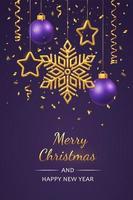Kerst paarse achtergrond met hangende glanzende gouden sneeuwvlokken