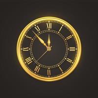 goud glanzend horloge met romeinse cijfers vector