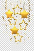 glinsterende hangende gouden sterren met confetti