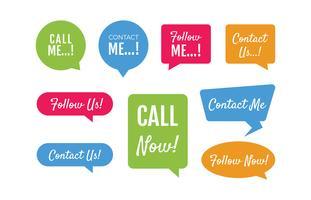 Etiketten voor bedrijfslabels, contactpersonen en Follow Me vector