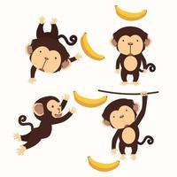 schattige kleine aap cartoon tekenset vector