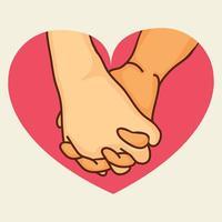 pink belofte handen in hartvorm vector