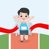 jongen joggen in marathonrace vector