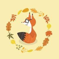 schattige vos in glazen met de cirkelontwerp van de bladerendecoratie