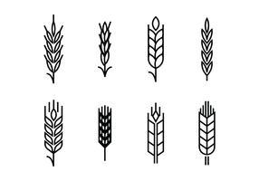 Tarwe oren instellen pictogrammen vector