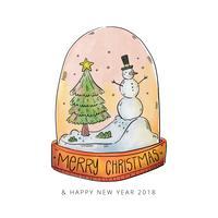 Waterverfkerstmissneeuwbal met Kerstboom en Sneeuwman