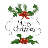 Aquarel Kerstmisslinger met bessen en ornamenten vector