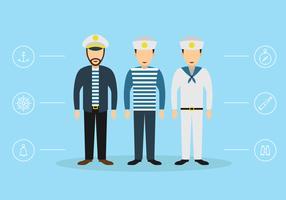 Drie zeelieden en nautische pictogramvectoren