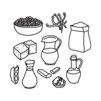 Zwart-witte doodles over tofu en andere veganistische eiwitten vector