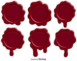 Set van rode stempel lakzegel - Vector
