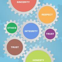 Sociale verantwoordelijkheid Solid Gear Icons vector