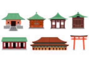 Set Van Shrine Icon vector
