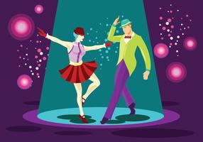 Heldere paar Tap Dance Performer Vector