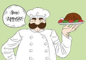 Leuk groot chef-kokkarakter met Bon Appétit-van letters voorziende Vector