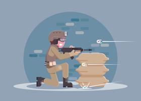 Airsoft-speler met Action Cam en Rifle