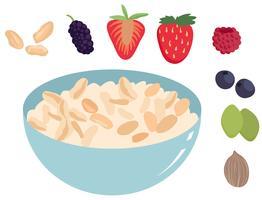 Kom met muesli met fruitvectoren