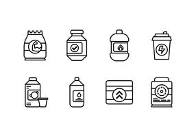 Supplement ingesteld lineair pictogram vector