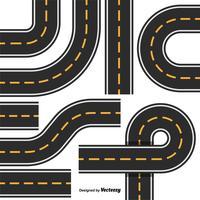 Routekaart ontwerpelementenset. Bovenaanzicht Positie. Snelweg onderdelen vector