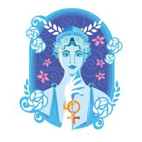 Mooie Aphrodite in bloem Frame Vector