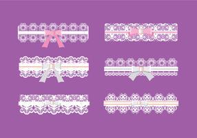 Set van ribbelpatroon met roze en witte lint