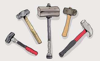 Sledgehammer Collection Hand getrokken vectorillustratie vector