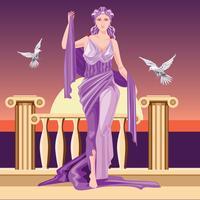 Klassieke Griekse godin Aphrodite in tuniek opheffende wapens
