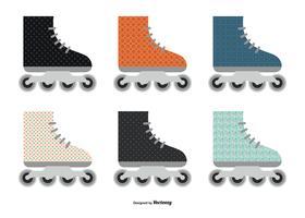 Kleurrijke vlakke stijl roller blades-collectie vector