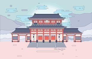 daigokuden in heian jingu heiligdom vector