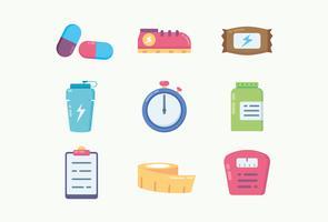 Fitness en gezondheid pictogrammen vector